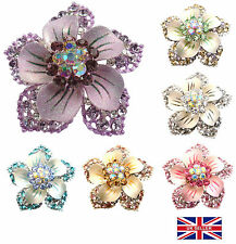 Large Swarovski Crystal Silver Plated Flower Brooch Pin with Glitter Petals