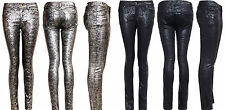 NEW WOMEN'S GIRLS SEXY SUPER SNAKE PRINT JEANS SKINNY FIT HIGH WAIST TROUSERS