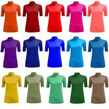 New T-shirt Donna Top Donna Polo Collo Alto Manica Corta Body Cotone Nero