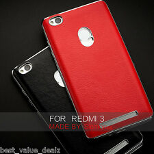 For XIAOMI MI REDMI 3s PRIME LUXURY CHROME BUMPER PU LEATHER BACK CASE COVER