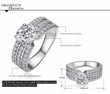 Trendy Silver Plated Ring Austrian Crystal Zircon Women Jewelry Gift Rings