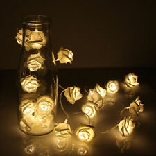2M 20 LED Rose Flower Warm White Fairy String Lights Xmas Party Battery Operated