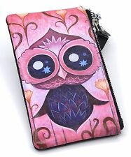 New Cute Owl design picture Leather Purse Coin Pouch Phone Holder