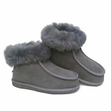 Grey Ladies Women's Premium 100% Pure Twinface Sheepskin Boots Slippers EVA Sole