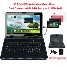 "9"" Android 4.4 Tablet PC Quad Core HD 8GB Wi-Fi Dual Camera with Keyboard Bundle"