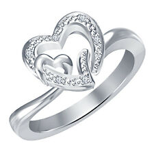 White Platinum Over 925 Silver Natural Diamond Glamorous Heart Shape Lady Ring