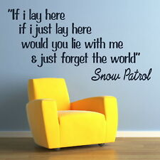 SNOW PATROL lay here wall song lyrics sticker art transfer graphic vinyl QU63