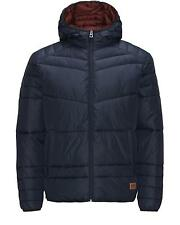 MENS JACK & JONES HOODED PADDED PUFFER JACKET BOMB - DARK BLUE