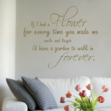 FLOWER GARDEN WALK FOREVER decal wall art sticker quote transfer graphic DAQ31