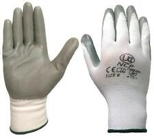 2 pairs UCI NCP - Nitrile Palm Coated Lightweight Work Gloves - White / Grey