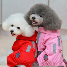 Pink Waterproof Cute Pet Dogs Mesh Hooded Puppy Raincoat Clothes Jumpsuit Jacket