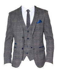 UOMO MARC DARCY 2 PIECE TWEED A QUADRI GIACCA & GILET SET SCOTT - QUADRI GRIGIO