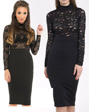 Womens Ladies Celeb Inspired Lace Mesh Polo Neck Long Sleeve Bodycon Midi Dress