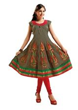 Shanaya Grey Semi Anarkali Cotton Kurta / Kurti / Top