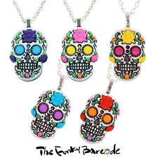 TFB - SUGAR SKULL FLOWER NECKLACE Gothic Emo Day Dead Gift Novelty Cool Retro