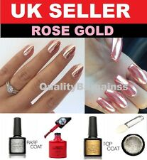 ROSE GOLD CHROME HOLO POWDER MIRROR NAILS NO WIPE TOP COAT RED UV GEL PIGMENT UK