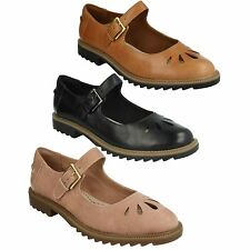 GRIFFIN MARNI LADIES CLARKS LEATHER BUCKLE CUT OUT DETAIL CASUAL FLAT SHOES
