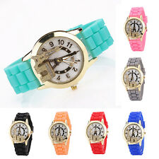 Womens Fashion Eiffel Tower Pattern Case Silicone Strap Quartz Wrist Watch Lofty