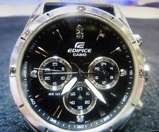 USED CASIO EDIFICE EF-544D-1AVDF MENS DIVERS CHRONOGRAPH CHROME/BLACK