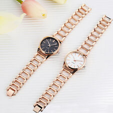 Women Round Case Stainless Steel Hollow Band Analog Quartz Wrist Watch Beauteous