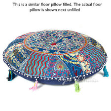"""22"""" BLUE COLORFUL PATCHWORK DECORATIVE FLOOR CUSHION PILLOW COVER Bohemian India"""