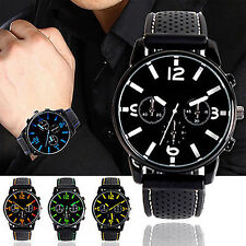 Mens New Numeral Dial Silicone Band Sport Analog Quartz Wrist Watch Quaint