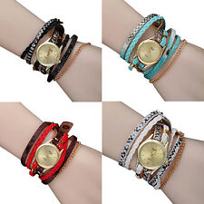 Women Fashion Multilayer Braided Watches Faux Leather Strap Wrist Watch Quaint