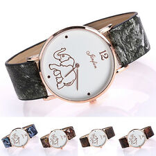 New Women Faux Leather Strap Elephant Round Dial Quartz Wrist Watch Quaint