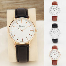 Women's Fashion Leather Band Analog Quartz Round Lady Wrist Watch Watches Lofty