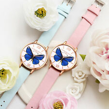 Women Fashion Luxury Butterfly Slim Faux Leather Analog Quartz Wrist Watch Lofty