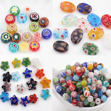 20Pcs Mixed Millefiori Glass Round Star Oval Loose Spacer Beads Jewelry Craft
