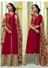 Shanaya Red Straight Silk Kurti / Kurta with Dupatta