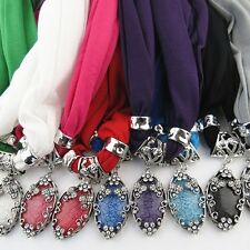 Fashion Women Water Drop Pendants Jewelry Necklace Scarf Stole Wrap Scarves Set