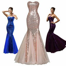 Sequins Mermaid Long Evening Dress Bridesmaid WEDDING Formal Party Gown Dresses☇