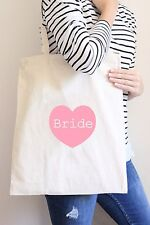 Pink Bride to Be Tote Canvas Bag - Wedding Gift Favour - Heart - Beach/Shopper