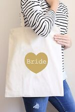 Gold Bride to Be Tote Canvas Bag - Wedding Gift Favour - Heart - Beach/Shopper