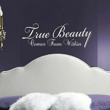 TRUE BEAUTY FROM WITHIN decal wall art sticker quote transfer graphic DAQ11