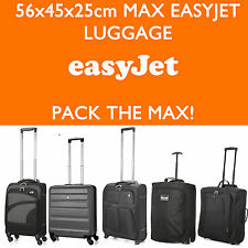 EASYJET 56x45x25 MAX LARGE CABIN HAND CARRY LUGGAGE SUITCASE TRAVEL TROLLEY BAGS