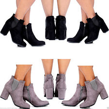 NEW WOMEN'S LADIES MID BLOCK HEEL SMART STYLISH SUEDE CHELSEA ANKLE BOOTS 3 TO 8