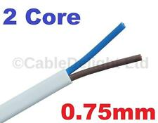 2 Core 0.75mm 6 Amp PVC Flexible Cable 1m 5 100m Flat Flex Electrical Wire WHITE