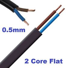 2 Core 0.5mm Flat Flex Electrical Wire 3 Amp PVC Flexible Cable 1m to 100m BLACK