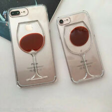 Wine Glass Soft Silicone Slim tpu Cover Case for Apple iPhone 7 & 7 Plus Red New