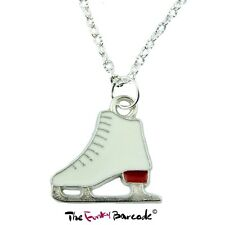 FUNKY RED ICE SKATE PENDANT NECKLACE WINTER SPORT HOBBY GIFT KITSCH QUIRKY RETRO