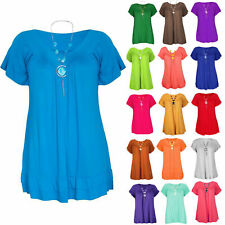 WOMENS LADIES FRILL DETAIL V NECK NECKLACE SHORT SLEEVE TOP TUNIC PLUS SIZE 8-22