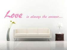 Love is Always the Answer Quote, Vinyl Wall Art Sticker, Mural, Decal. Bedroom