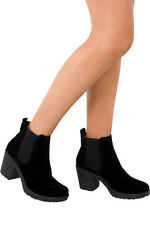 Womens Chunky Block Suede Heeled Ladies New Chelsea Ankle Boots Shoes Size UK