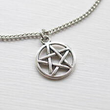 """Pentagram Pentacle Choker Necklace - Chain Charm Silver Wiccan Pagan 13"""" +2"""""""