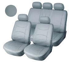 "Full PU leather Car Seat Covers 15"" SW for Bucket 5 Seats 559 Black/Silver"