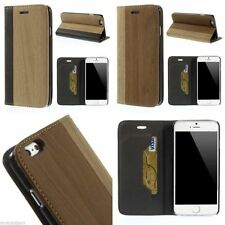 Smooth Wood Texture Leather Stand Shell Case Flip Cover For iPhone 6 6s 4.7""