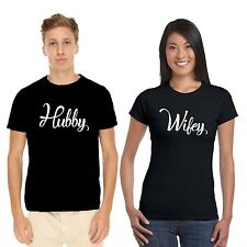 Giftsmate Hubby And Wifey Couple Tshirts for Men and Women_Cotton, Love Gifts
